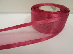 Dusky Pink satin edged organza ribbon, 2 or 25 metres, Double sided, 10mm, 15mm, 25mm, 40mm, 70mm